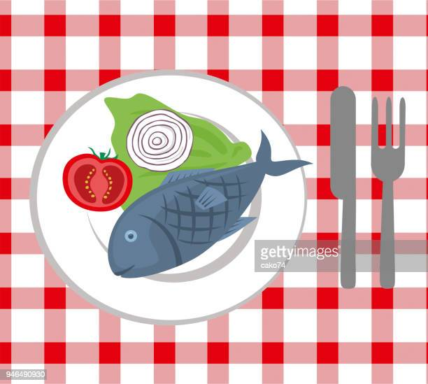 fresh fish on the plate - fillet stock illustrations, clip art, cartoons, & icons