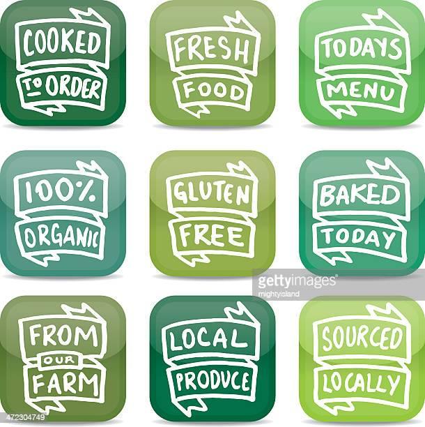 ilustrações, clipart, desenhos animados e ícones de alimentos frescos estilo conjunto de ícones de aplicativo - produto local