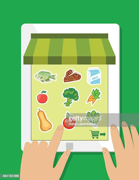 fresh food delivery concept - online grocery - ordering stock illustrations, clip art, cartoons, & icons