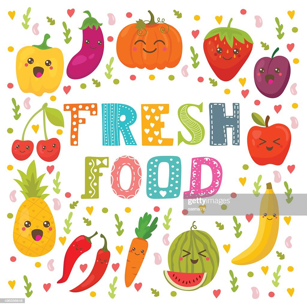 Fresh food. Healthy lifestyle. Cute happy fruits and vegetables