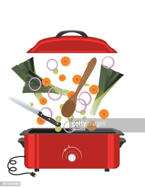 fresh food ingredients falling into a pot to cook - kitchenware department stock illustrations, clip art, cartoons, & icons