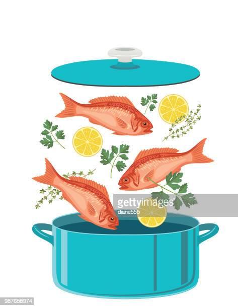 Vers voedselingrediënten in een Pot te koken vallen