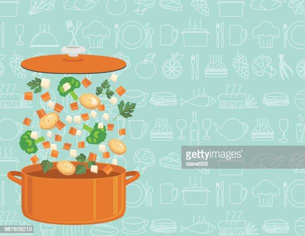 Fresh Food Ingredients Falling Into A Pot To Cook