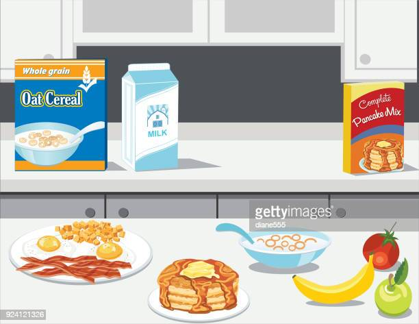 fresh foods and cooking with breakfast items - cabinet stock illustrations, clip art, cartoons, & icons