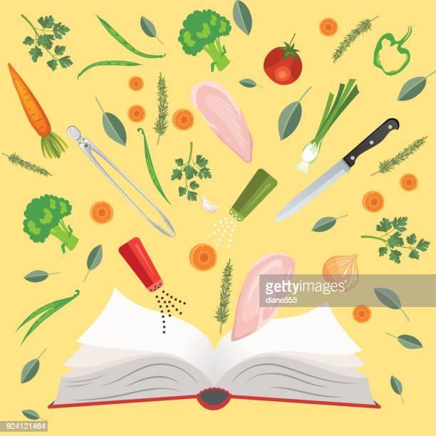 生鮮食品と料理は鍋、鍋および道具 - 料理本点のイラスト素材/クリップアート素材/マンガ素材/アイコン素材