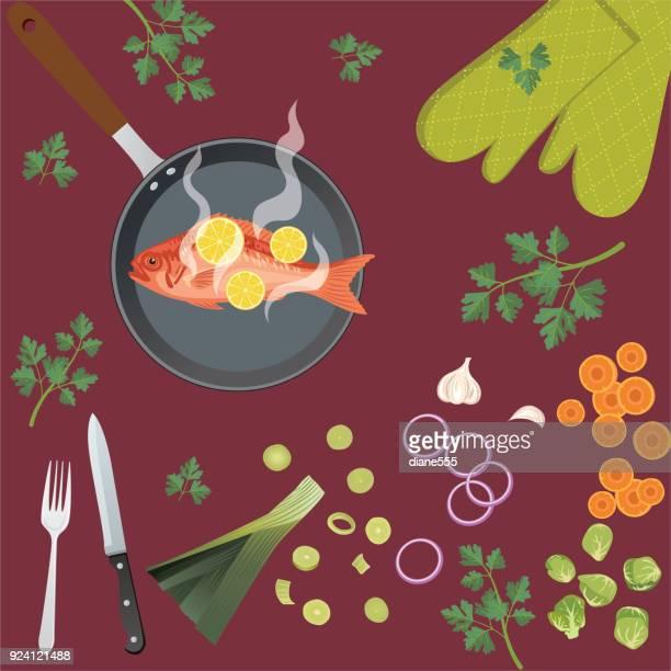 Verse levensmiddelen en koken met potten pannen en keukengerei