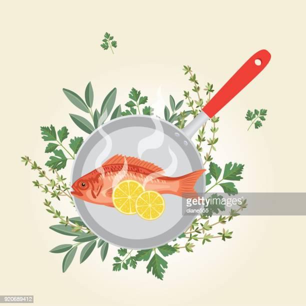 ilustrações, clipart, desenhos animados e ícones de alimentos frescos - conceitos de cozinha. - frito