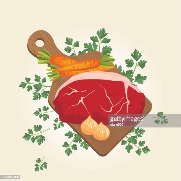 生鮮食品の概念を調理します。 - ローストビーフ点のイラスト素材/クリップアート素材/マンガ素材/アイコン素材
