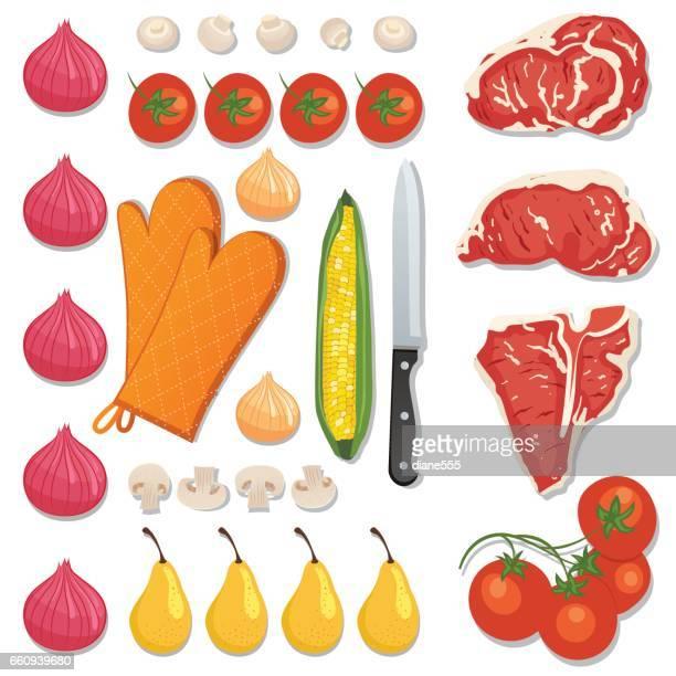 ilustraciones, imágenes clip art, dibujos animados e iconos de stock de flatlays de alimentos frescos o knolling conceptos. - chuletón