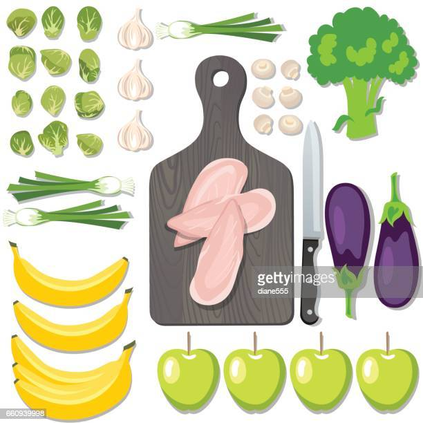 fresh foods flatlays or knolling concepts. - broccoli stock illustrations, clip art, cartoons, & icons