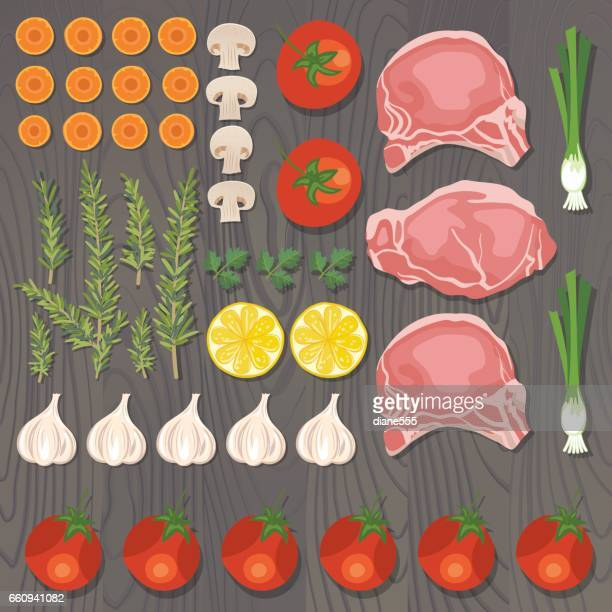 Fresh Foods Flatlays or knolling Concepts.