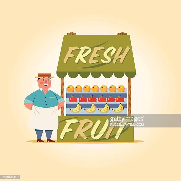 ilustraciones, imágenes clip art, dibujos animados e iconos de stock de frutas frescas - puesto de mercado