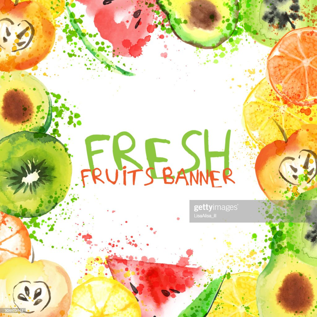 Fresh fruit watercolor banner. Watercolored apple, citruses, avocado and qiwi in one banner with splashes. Healthy lifestyle bannner with fruits and juice splash