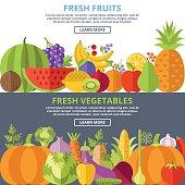 Fresh fruits and vegetables flat illustration concepts set