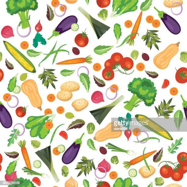 Fresh Fruits And Vegetables Seamless Pattern