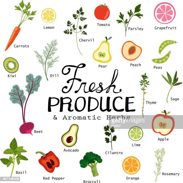 fresh fruits and vegetables - broccoli stock illustrations, clip art, cartoons, & icons