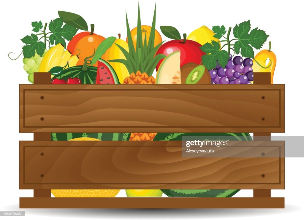 Fresh fruits in a box illustration. Healthy fruits and vegetarian food banners. Fresh organic food, healthy eating