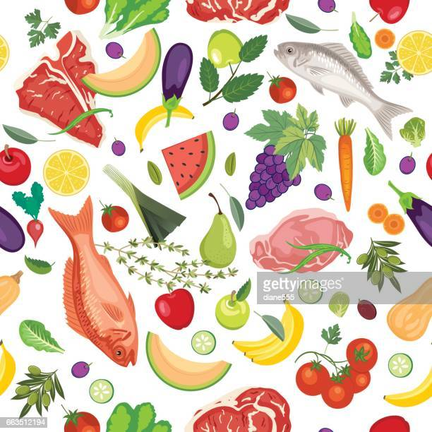 Fresh Fruits, Meats And Vegetables Seamless Pattern