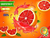 Fresh grapefruit juice ad. Refreshing citrus drink advertising vector