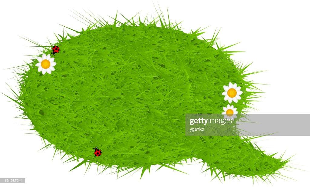 Fresh green grass speech bubble. Vector illustration