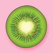 Fresh green kiwifruit with a heart center