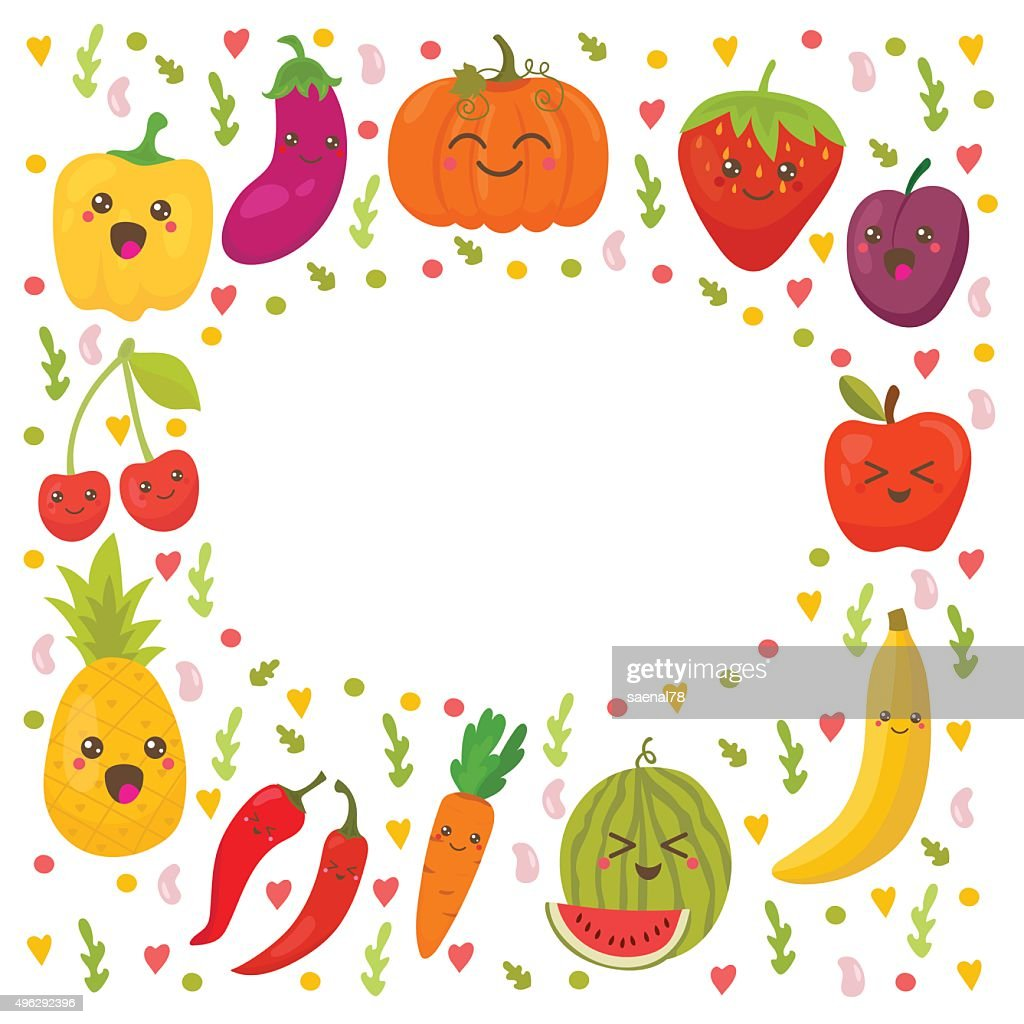 Fresh happy fruits and vegetables. Frame for your design