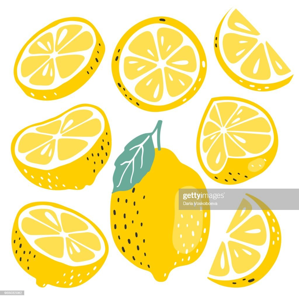 Fresh lemon fruits collection