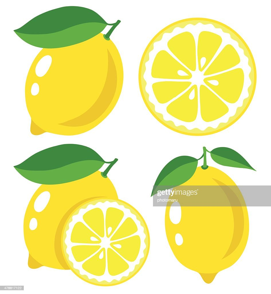 Fresh lemons, collection of vector illustrations