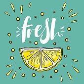 """""""Fresh"""" lettering with lemons. Vector cute illustration."""