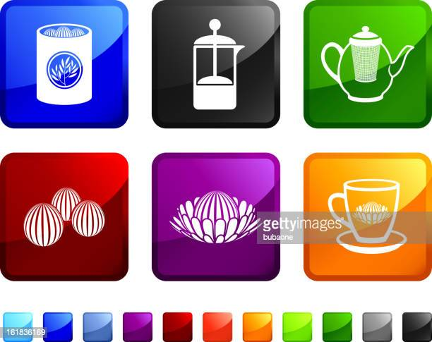 Fresh Made Tea royalty free vector icon set