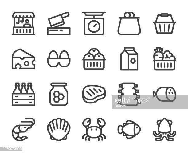 新鮮な市場 - 太字のラインアイコン - エビ料理点のイラスト素材/クリップアート素材/マンガ素材/アイコン素材