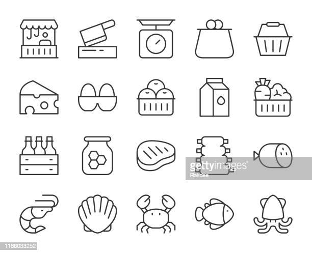 fresh market - light line icons - savory food stock illustrations