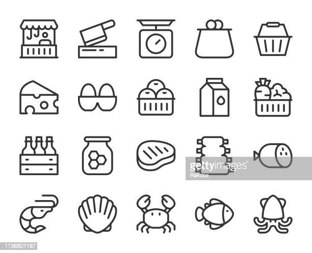 fresh market - line icons - meat stock illustrations