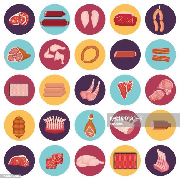 ilustraciones, imágenes clip art, dibujos animados e iconos de stock de conjunto de iconos de carne fresca - carne de vaca