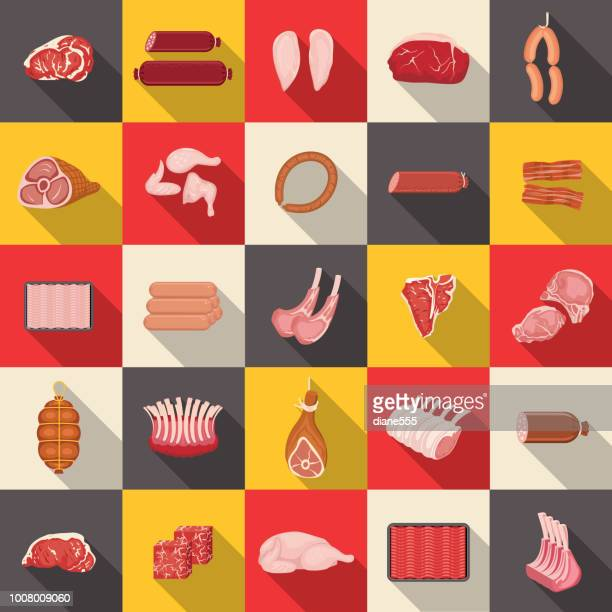 fresh meat icon set - ground beef stock illustrations, clip art, cartoons, & icons