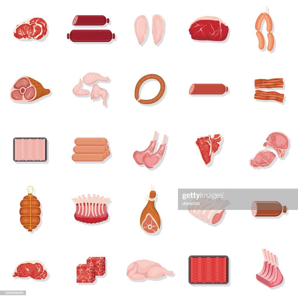 Fresh Meat Icon Set : stock illustration