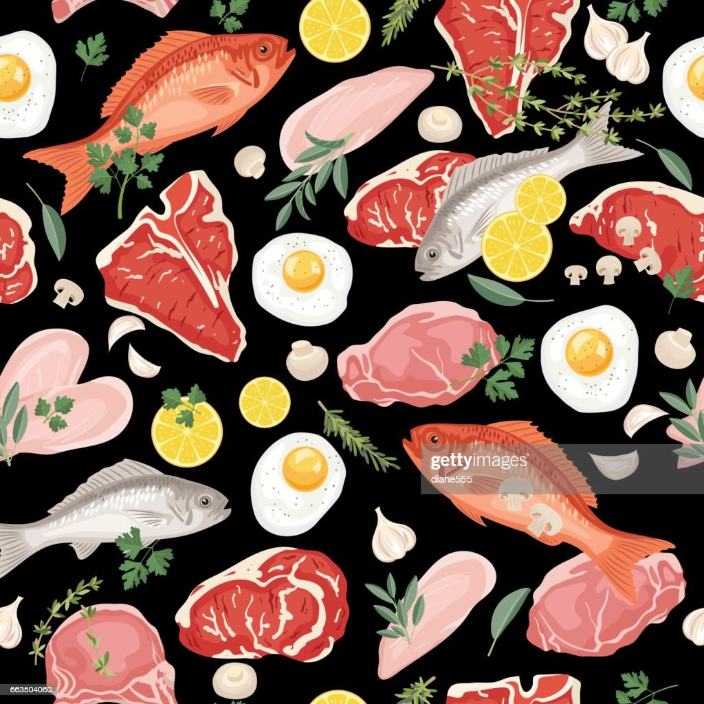 Fresh Meats, Fish and Eggs Seamless Pattern : stock illustration