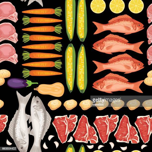Fresh Meats, Fish and Vegtables Seamless Pattern