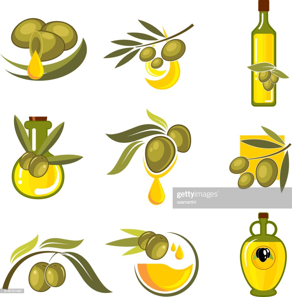 Fresh olive fruits and oil bottles symbols
