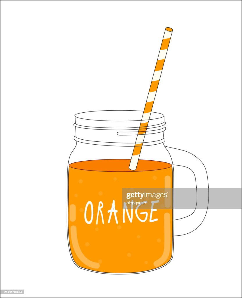 Fresh Orange Smoothie. Healthy Food. Vector Illustration : Vector Art