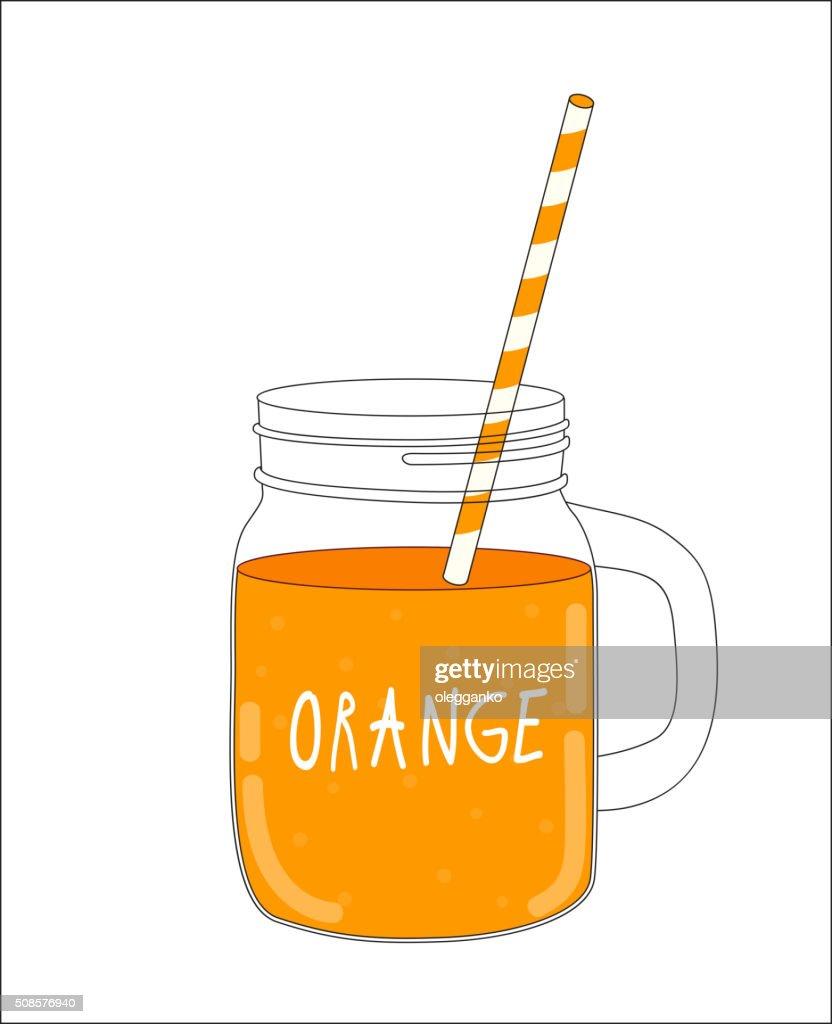 Frappé all'arancia. Cibo sano. Illustrazione vettoriale : Arte vettoriale