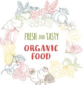 Fresh organic spring summer fruits and vegetables frame.