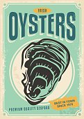 Fresh oysters retro poster design