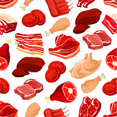 Fresh pork and beef meat seamless pattern