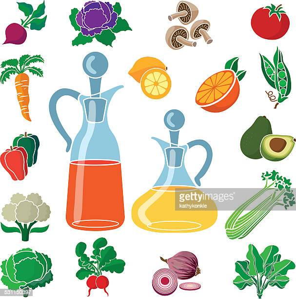fresh produce for a healthy salad with oil and vinegar - red cabbage stock illustrations, clip art, cartoons, & icons