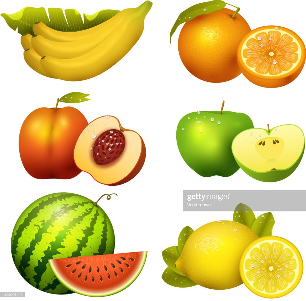 Fresh realistic juicy fruits slice vector illustration 3d organic vegetarian isolated greengrocery fruit