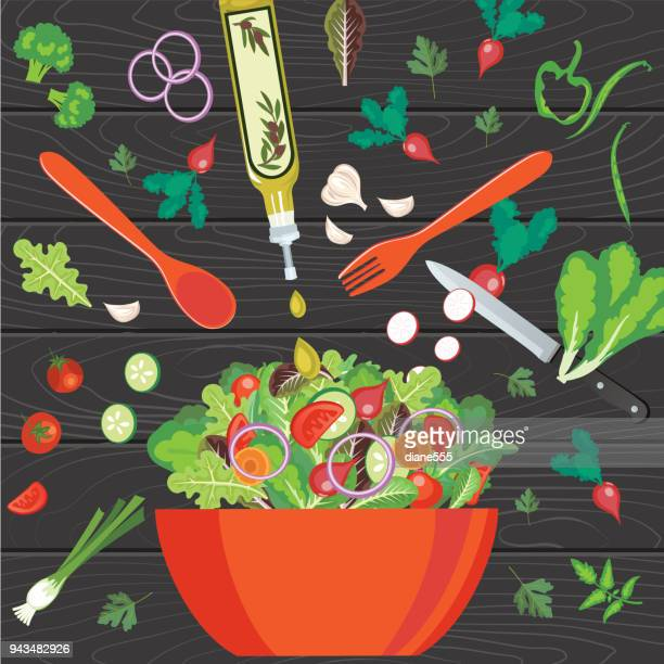 fresh salads and greens concepts - salad bowl stock illustrations