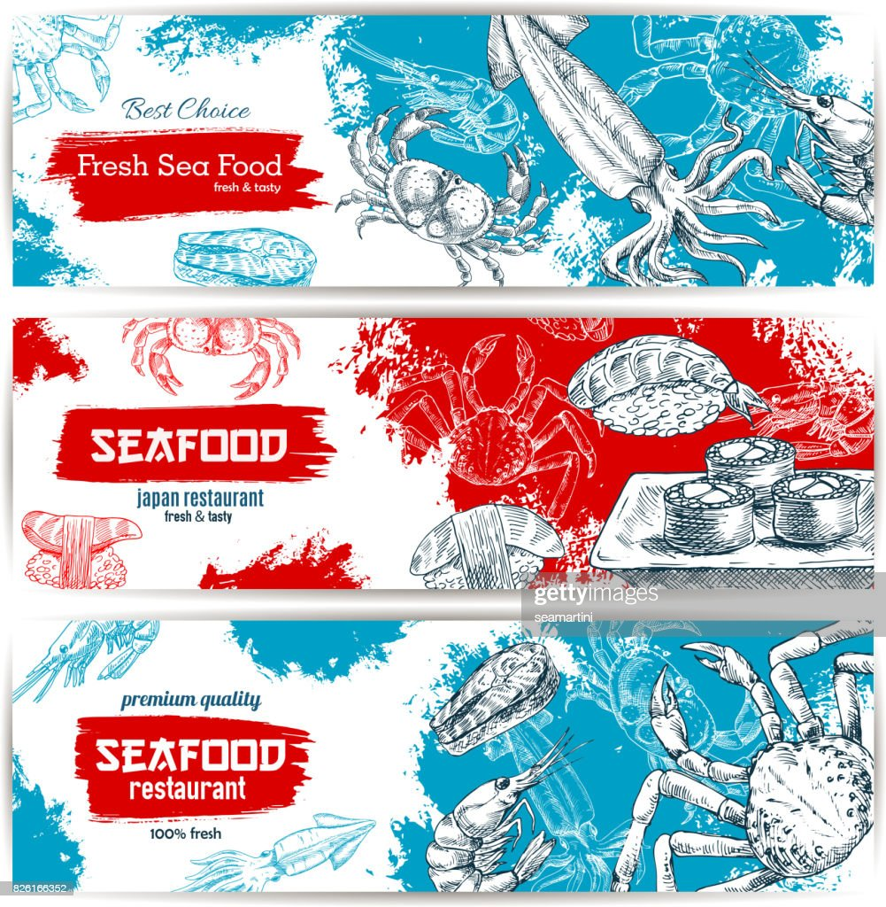 Fresh seafood and fish food sketch banners