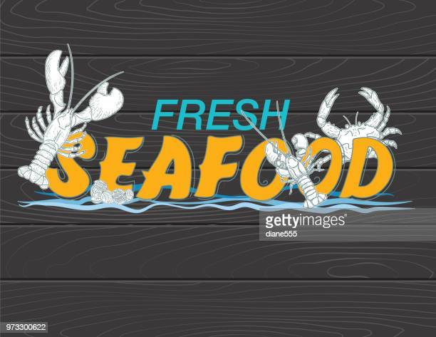 Fresh Seafood Signs With Hand Drawn Text