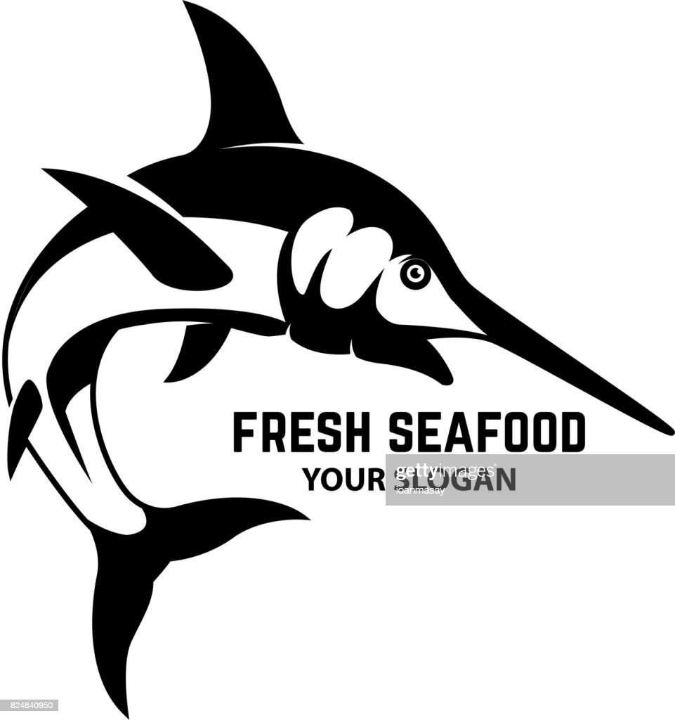 Fresh seafood. Swordfish icon on white background. Design element for label, emblem, sign. Vector illustration